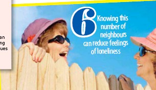 ??  ?? 6 Knowing this number of neighbours can reduce feelings of loneliness