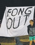 ??  ?? IT'S TIME TO GO: Roar fans express their desire for club chairman Chris Fong to leave the embattled club.