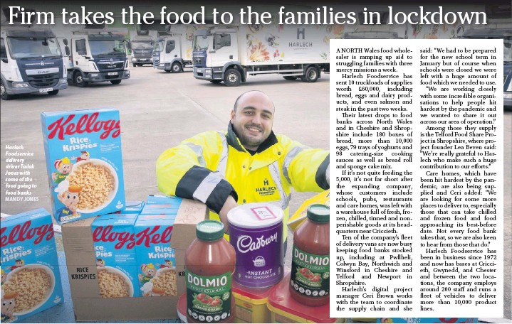 ?? MANDY JONES ?? Harlech Foodservic­e delivery driver Tadek Jones with some of the food going to food banks
