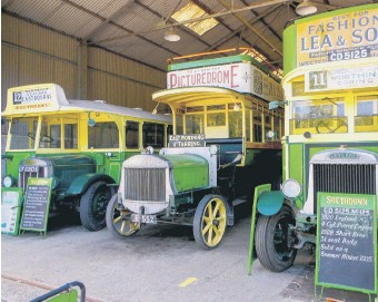 ?? PHOTO BY CLIVE AND SUE FENNELL ?? Vintage buses at Amberley Museum