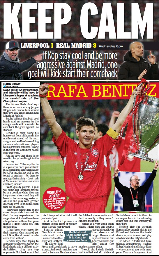 ??  ?? WORLD'S APART Gerrard and Benitez in lift the CL trophy 2005 and (inset) at Dalian Pro in China Mo Salah and Sadio Mane have it in them to cause problems