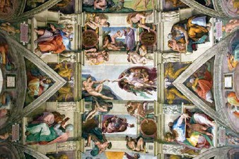 ??  ?? 🔽 Part of the frescoes on the Sistine Chapel ceiling