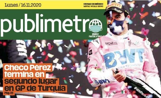 ?? / GETTY IMAGES ?? CIUDAD DE MÉXICO Fórmula 1. Por primera vez en la presente temporada de F1, Checo subió al podio al terminar segundo en el Circuito de Estambul, tras salir tercero.