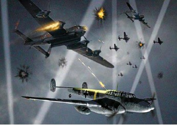 ??  ?? An artist's im­pres­sion of a Messer­schmidt Bf110 fight­ing a Lan­caster in skies above Ger­many.