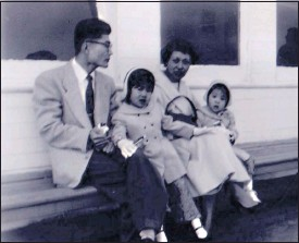 ?? COURTESY OF CAROLINE KIMIKO ?? Jean Mitoma, with husband Chozo Mitoma, daughters Cathy and Peggy in 1956 on a day trip on the Richmond-San Rafael ferry.