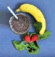 ??  ?? Your original smoothie, above, contains 300 calories, 3.5 g fat, 64 g carbohydrate, 6 g fibre, 3 g protein, 344 mg calcium, 1.5 mg of iron, 1 ug B12, which is 42 per cent of the daily recommended intake. You new smoothie, left, contains 460 calories,...