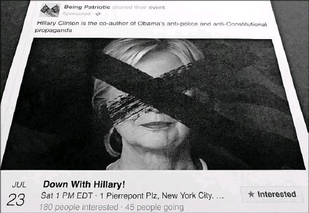 """?? Jon Elswick/The Associated Press ?? Officials say the Russians used Facebook to pose as Americans and sow discord among the electorate by creating Facebook groups and events, including one event called """"Down with Hillary!"""""""