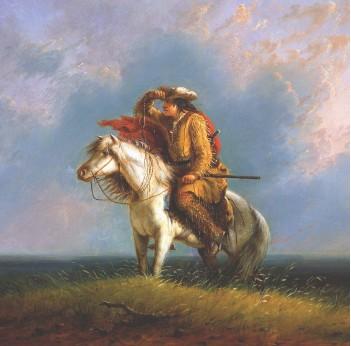 ??  ?? BUFFALO BILL CENTER OF THE WEST, WYOMING / ART ARCHIVE ITINERARI INCONTAMINATI Un cacciatore di bufali scruta l'orizzonte in questo quadro di Alfred J. Miller, che nel 1837 scortò una carovana di pelli alle Montagne Rocciose.