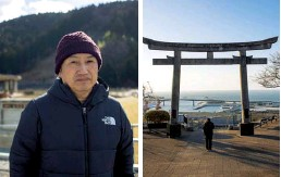 ??  ?? From left: Shinichiro Hiratsuka, in front of the school where his daughter died; a torii gate that 2021