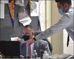 ?? PETE BANNAN - MEDIANEWS GROUP ?? U.S. Secretary of Education Miguel Cardona is instructed by Social Studies teacher Alex Host in his virtual classes at Beverly Hills Middle School.