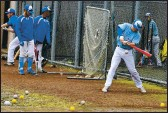 ?? CHRISRILEY—TIMES-HERALDFILE ?? Brandon Herter takes on a hitting skills station during Solano Community College baseball in 2020. The Falcons will return to action on Saturday against Sierra.