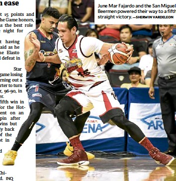 ?? —SHERWIN VARDELEON ?? June Mar Fajardo and the San Miguel Beermen powered their way to a fifth straight victory.