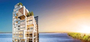 ?? ARTIST'S RENDERING COURTESY OF MP1 ET DéVELOPPEMENTS SYMPHONIA ?? Symphonia Pop will include more than 200 condos, spread over 32 floors in total, on a beautiful site along the St. Lawrence River, on Nuns' Island.