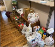 ??  ?? Some of the donations collected for the Zuber Realty food drive.