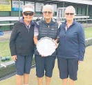 ??  ?? Winners of the 2020 ladies club championsh­ip triples, from left, Robyn Johnston, Anne Mahon and Raewyn Burwell.