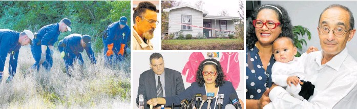 ?? Photos / Mark Mitchell, Derek Flynn, Christchurch Star. ?? Clockwise from left: A police team searching for abducted baby Kahu Durie in Wellington suburb of Southgate; Terence Traynor; Traynor's property; Donna Hall and Justice Eddie Durie reunited with baby Kahu; Hall, with inquiry head Detective Inspector Stuart Wildon, making an impassioned plea for the return of Kahu.