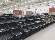 ??  ?? 0 Grocery stores were stripped bare as customer panicked