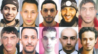 ?? AGENCE FRANCE-PRESSE VIA GETTY IMAGES ?? The network of terrorism suspects, seen here, put together in Paris by Abdelhamid Abaaoud, top left, featured several people who had criminal pasts like the one he had in Belgium. Authorities say the Islamic State is relying more on loyalists from Europe who increasingly are street toughs and ex-cons.