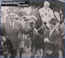 ??  ?? Owner Chris Saunders (left) and Trainer Fred Rickaby(right) lead in Naval Escort Picture: GoldCircle