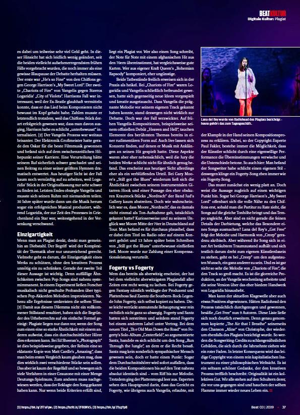 ??  ?? [1] https://bit.ly/2F7aFpw; [2] https://bzfd.it/2F8LWkS; [3] https://bit.ly/2TygYpB Lana del Rey wurde von Radiohead des Plagiats bezichtigt – heute gehört das zum Tagesgeschäft.