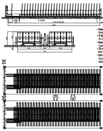 ??  ?? • Plakalar Double compact için kompakt storage çiftli system depolama for slabs • 31 Bölme 31+31 Elements/positions • Kapasite Capacity • 20 mm 500 plaka 500+500 slabs (20mm) • 100 m² alan Occupied space on the floor: 100m² 10 slabs/m²