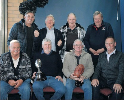 ??  ?? Memories are fresh: Shepparton United's premiership heroes of 1967 (back) Des Campbell, John Cooper, Mike Cooke, John Hueston, (front) Barry Beamish, Murray Kick, Ross McKellar and Ross Robins all played in the successful 1967 premiership.