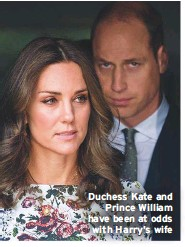 ??  ?? Duchess Kate and Prince William have been at odds with Harry's wife