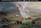 ??  ?? Manifest Destiny personified assists the frontiersmen in American Progress by John Gast