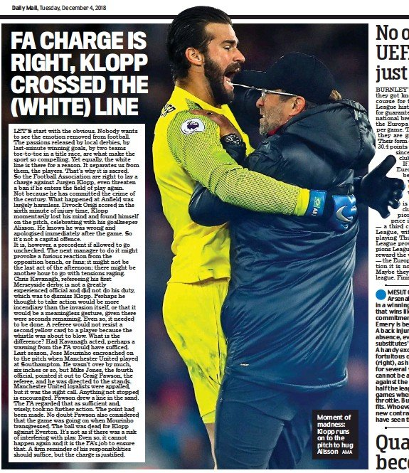 ?? AMA ?? Moment of madness: Klopp runs on to the pitch to hug Alisson