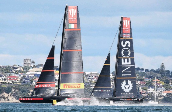 ?? PHOTO: GETTY IMAGES ?? It's on . . . Luna Rossa Prada Pirelli Team (left) competes against Ineos Team UK in round three, race 2 during the Prada Cup round robins on Auckland Harbour last month.