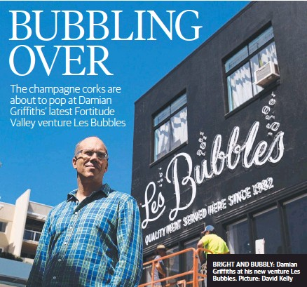 ??  ?? BRIGHT AND BUBBLY: Damian Griffiths at his new venture Les Bubbles. Picture: David Kelly