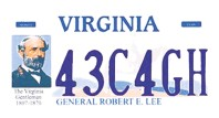 ?? COURTESY PHOTO ?? A Gen. Robert E. Lee license plate offered by Virginia's Department of Motor Vehicles.