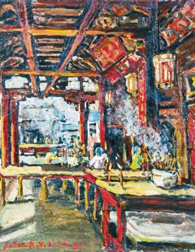 ?? — Photos: RAJA FAISAL HISHAN/The Star ?? Liew's Chinese Temple, Malacca (oil on canvs, 1979). (Right) 'My art is expressed in my character. A lot of friends and art lovers, they are surprised to see me, such a small-sized, very soft-spoken man. How come your paintings seem so vibrant and rough?' says Liew.