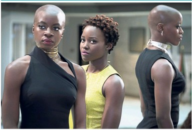 ??  ?? (From left) Gurira, Lupita Nyong'o and Florence Kasumba mean business in Black Panther.