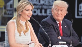 ?? ANDREW HARNIK/AP ?? President Donald Trump and his daughter and adviser Ivanka attend a workforce development roundtable at Waukesha County Technical College in Pewaukee, Wis. in June.