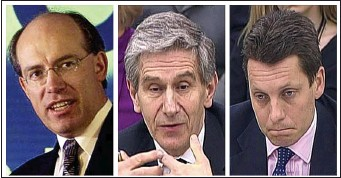 ??  ?? In the firing line: Former HBOS chiefs James Crosby, Lord Stevenson and Andy Hornby