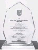 ??  ?? PLAQUE of recognition from the Legal Education Board