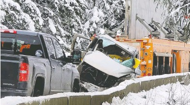 ?? MITCHELL DANILAK / PNG ?? One person is dead and dozens are injured following a multi-vehicle accident that has closed part of Coquihalla Highway near Hope, B.C. The highway is a major route known for its treacherous conditions in winter.