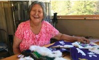 ??  ?? Inuvialuit cultural host Renie Arey shows off some crafts. Right, Jennifer Bain's private sleeping quarters and fishing rods.