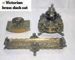 ??  ?? > Victorian brass desk set