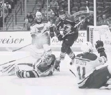 ?? Daniel Brenner, Special to The Denver Post ?? Colorado center Alexander Kerfoot scores in the third period against the St. Louis Blues on Thursday night at the Pepsi Center. The Avalanche lost 4-3.