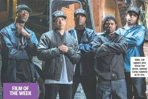 ??  ?? NWA, the rappers who shook the world; (below) Corey Hawkins as Dr Dre.
