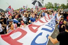 ?? Efe ?? Un grupo de manifestantes en La Habana.