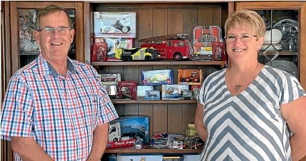 ??  ?? Bryan and Nicky Simpson with some of the range of diecast collectibles they sell online.
