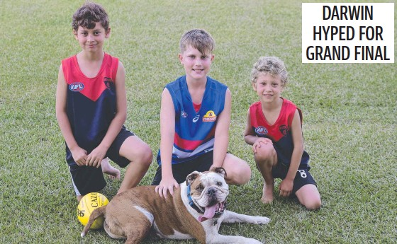 ?? ?? Brodie Ayres, Charlie Bryan and Alessio Ayres with George are ready for Saturday's AFL grand final. Picture: Amanda Parkinson