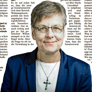 ?? Foto: Dwbo/zellentin ?? Klare Worte: Die scheidende Diakoniedirektorin Barbara Eschen sieht in der Berliner Verwaltung große Schwächen bei der Umsetzung politischer Vorgaben.