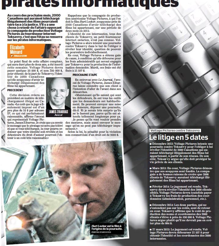 ??  ?? JAMES ZIBARRAS Avocat Hurt Locker est le film à l'origine de la poursuite.
