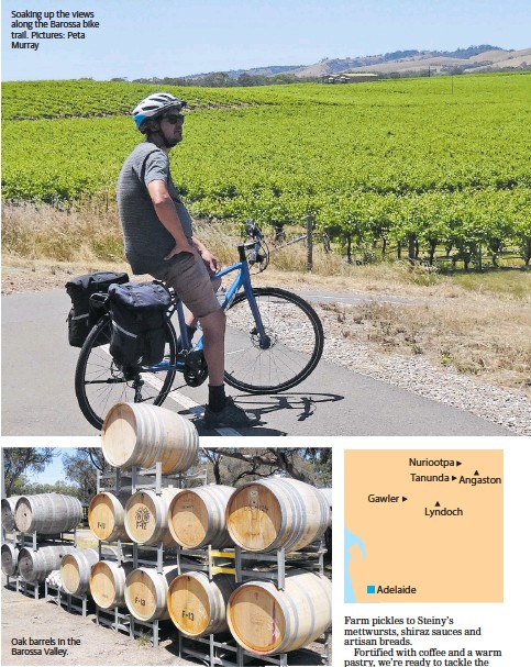 ??  ?? Soaking up the views along the Barossa bike trail. Pictures: Peta Murray Oak barrels in the Barossa Valley.