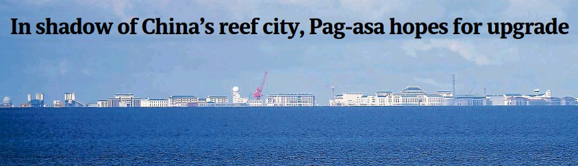 ?? BULLIT MARQUEZ/AP ?? Cranes, structures and buildings dominate the skyline of China's man-made Subi Reef in the Spratly chain, as seen from the Philippine-held Pag-asa island.—