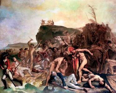 """??  ?? Картину """"Смерть капітана Джеймса Кука"""" написав німецький художник Йоганн Цоффані (1733–1819). Малював момент убивства зі слів моряків, які були на Гаваях. Полотно зберігають у Лондонському національному морському музеї"""